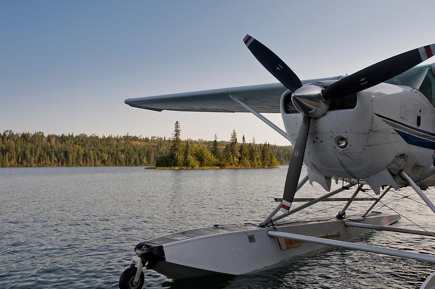 A sea plane docks at Tobin Harbor at Isle Royale National Park in Michigan USA.