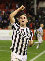 Kenny McLean after winning the penalty shoot out in the Aberdeen v St Mirren Scottish Communities League Cup match played at Pittodrie Stadium, Aberdeen on 30.10.12.