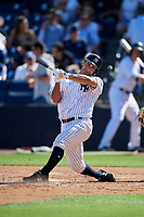 New York Yankees pinch hitter Jorge Saez (80) attempts to check his swing during a Grapefruit League Spring Training game against the Toronto Blue Jays on February 25, 2019 at George M. Steinbrenner Field in Tampa, Florida.  Yankees defeated the Blue Jays 3-0.  (Mike Janes/Four Seam Images)