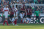 06.10.2018, HDI Arena, Hannover, GER, 1.FBL, Hannover 96 vs VfB Stuttgart<br /> <br /> DFL REGULATIONS PROHIBIT ANY USE OF PHOTOGRAPHS AS IMAGE SEQUENCES AND/OR QUASI-VIDEO.<br /> <br /> im Bild / picture shows<br /> Bobby Wood (Hannover 96 #17) bejubelt seinen Treffer zum 2:0 gegen Ron-Robert Zieler (VfB Stuttgart #01) mit Pirmin Schwegler (Hannover 96 #27), <br /> <br /> Foto &copy; nordphoto / Ewert