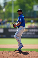Rancho Cucamonga Quakes starting pitcher Chris Mathewson (27) prepares to deliver a pitch during a California League game against the Stockton Ports at Banner Island Ballpark on May 17, 2018 in Stockton, California. Stockton defeated Rancho Cucamonga 2-1. (Zachary Lucy/Four Seam Images)