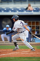 Lakeland Flying Tigers second baseman Will Maddox (3) follows through on a swing during a game against the Charlotte Stone Crabs on April 16, 2017 at Charlotte Sports Park in Port Charlotte, Florida.  Lakeland defeated Charlotte 4-2.  (Mike Janes/Four Seam Images)