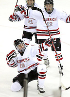 Nebraska-Omaha's Ryan Walters (19) celebrates after scoring. defeated Colorado College 7-5 Friday night at CenturyLink Center in Omaha. (Photo by Michelle Bishop) .