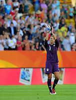 Hope Solo of team USA celebrates during the FIFA Women's World Cup at the FIFA Stadium in Dresden, Germany on June 28th, 2011.