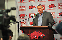 NWA Democrat-Gazette/Michael Woods --02/04/2015--w@NWAMICHAELW... University of Arkansas coach Bret Bielema talks about the Razorbacks new recruits for the 2015-2016 season during a press conference Wednesday afternoon at Fred W. Smith Center in Fayetteville.
