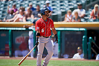 Jan Vazquez (6) of the Albuquerque Isotopes bats against the Salt Lake Bees at Smith's Ballpark on April 22, 2018 in Salt Lake City, Utah. The Bees defeated the Isotopes 11-9. (Stephen Smith/Four Seam Images)