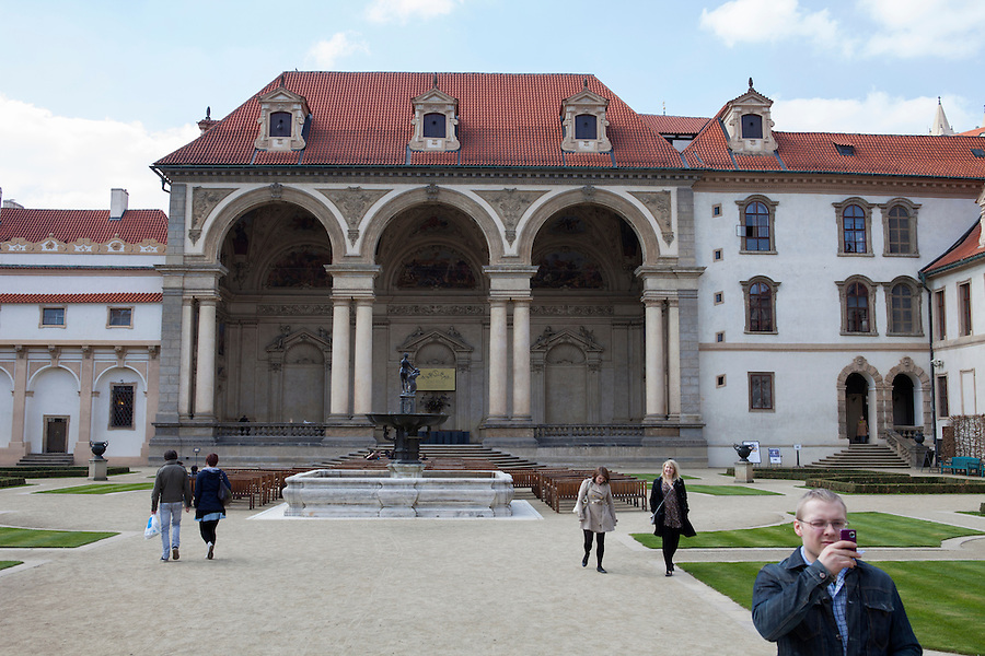 "The ""sala terrena"" of Wallenstein Palace (Czech: Valdštejnský palác) is a Baroque palace built from 1623  in Malá Strana, Prague, currently the home of the Czech Senate, Czech Republic, Europe"