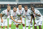 (L-R) Auckland City players Clayton Lewis, Emiliano Tade, Ryan de Vries, Micah Lea Alafa and Joao Moreira celebrating with the trophy during the Nike Lunar New Year Cup 2017 match between SC Kitchee (HKG) and Auckland City FC (NZL) on January 31, 2017 in Hong Kong, Hong Kong. Photo by Marcio Rodrigo Machado / Power Sport Images
