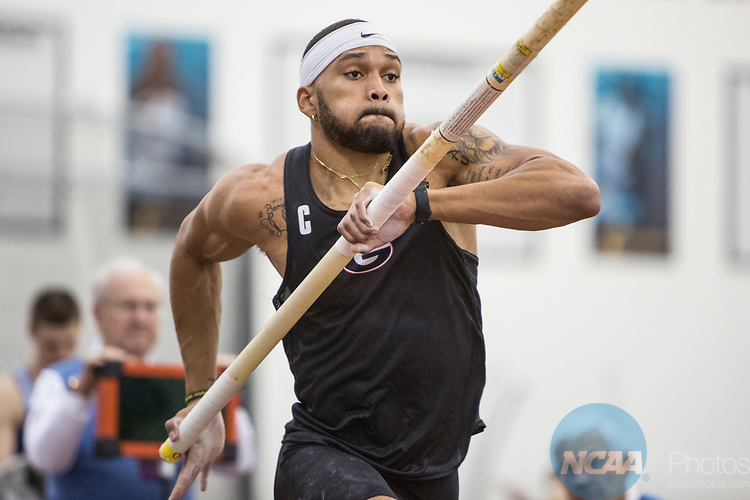COLLEGE STATION, TX - MARCH 11: Devon Williams of Georgia competes in the pole vault section of the Heptathlon during the Division I Men's and Women's Indoor Track & Field Championship held at the Gilliam Indoor Track Stadium on the Texas A&M University campus on March 11, 2017 in College Station, Texas. (Photo by Michael Starghill/NCAA Photos/NCAA Photos via Getty Images)