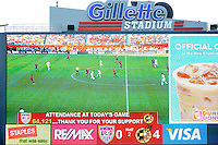 The video board displays the game's attendance as 64,121. The men's national team of Spain (ESP) defeated the United States (USA) 4-0 during a International friendly at Gillette Stadium in Foxborough, MA, on June 04, 2011.