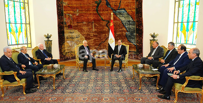 Egyptian President Abdel Fattah el-Sisi meets with Palestinian President Mahmoud Abbas, in Cario, Egypt on April 29, 2017. Photo by Egyptian President Office