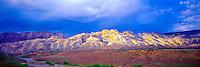 Split Mountain Panorama, Dinosaur National Monument, Utah, Green River below, Eastern Uinta Mountains, Sunset, May