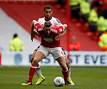 Daryl Murphy of Nottingham Forest and Cameron Carter Vickers of Sheffield Utd during the Championship match at the City Ground Stadium, Nottingham. Picture date 30th September 2017. Picture credit should read: Simon Bellis/Sportimage
