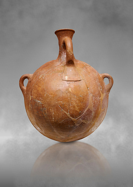 Hittite terra cotta pi;grim flask. Hittite Empire, Alaca Hoyuk, 1450 - 1200 BC. Alaca Hoyuk. Çorum Archaeological Museum, Corum, Turkey. Against a grey bacground.