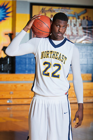 University of Kentucky signee Alex Poythress attended a photo shoot at Northeast High School, in Clarksville,  Feb. 10, 2012. Photo by Derek Poore