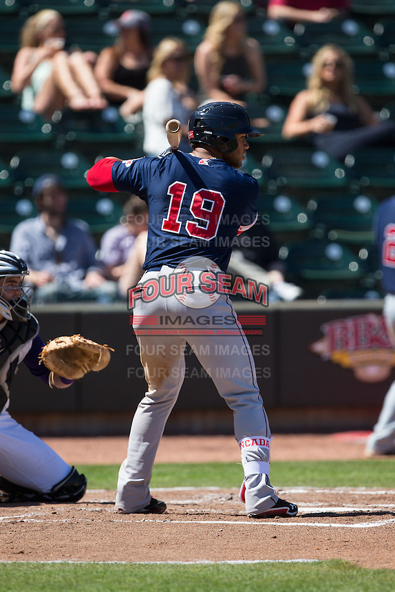 Yoan Moncada (19) of the Salem Red Sox at bat against the Winston-Salem Dash at BB&T Ballpark on April 17, 2016 in Winston-Salem, North Carolina.  The Red Sox defeated the Dash 3-1.  (Brian Westerholt/Four Seam Images)