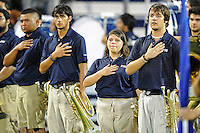 1 September 2011:  Members of FIU's band show respect during the National Anthem.  The FIU Golden Panthers defeated the University of North Texas, 41-16, at FIU Stadium in Miami, Florida.