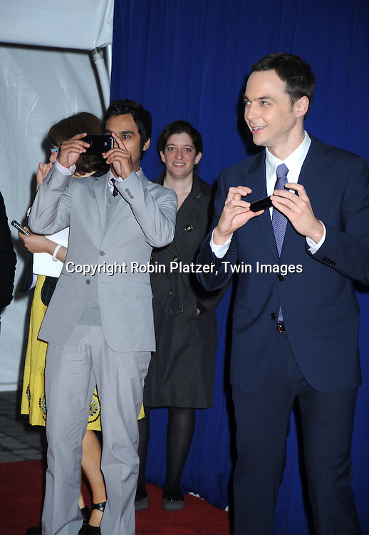 "Kunal Nayyar and Jim Parsons of "" The Big Bang Theory""  arriving at The CBS Upfront presentation of their 2010-2011 Fall Season on May 19, 2010 at Lincoln Center in New York City."