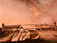 Frankfurt: Die Mainbrucke von Ch. G. Schutz d. A. 1742. Reference only.