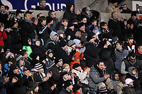 Pictured: Swansea supporters. Tuesday, 31 January 2012<br /> Re: Premier League football Swansea City FC v Chelsea FCl at the Liberty Stadium, south Wales.
