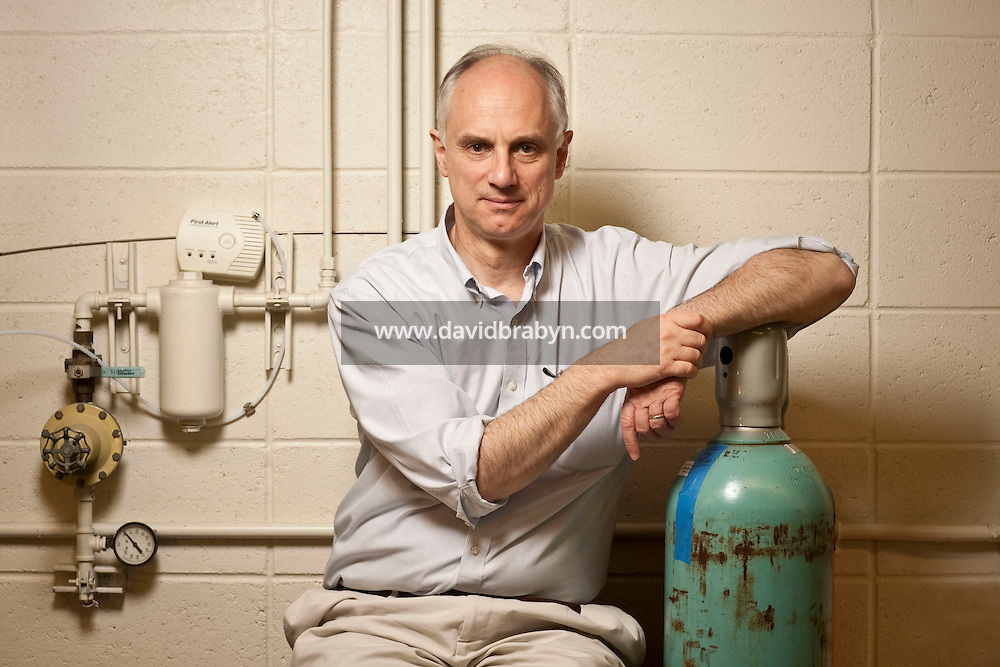 Professor Klaus S. Lackner, director of the Lenfest Center for Sustainable Energy at the Earth Institute, poses for the photographer in his laboratory at Columbia University in New York, USA, 10 November 2009.