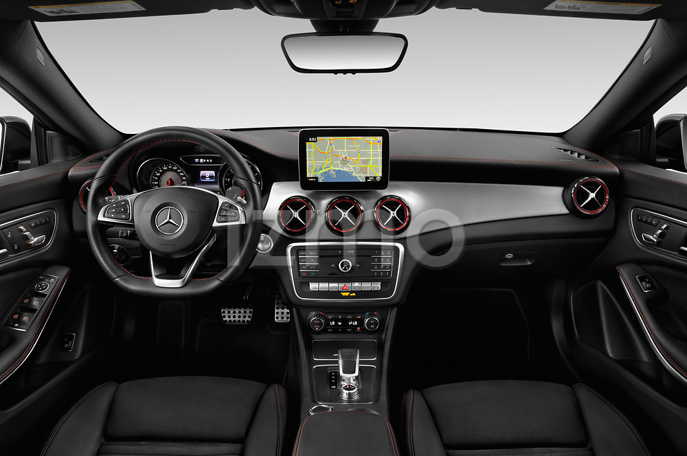Stock photo of straight dashboard view of a 2019 Mercedes Benz CLA Coupe 45 AMG 4 Door Sedan