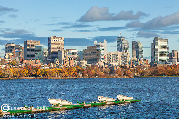 Fall colors the Charles River skyline in Boston, MA, USA