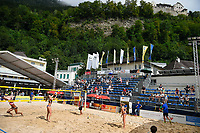 VADUZ, LIECHTENSTEIN, 10.08.2019- FIVB BEACH VOLLEYBALL WORLD TOUR:  Vista geral do campo centra durante o torneio FIVB Beach Volleyball World Tour Star1 na Beacharena, em Vaduz, Liechtenstein, nesse sabado 10. (Foto: Bruno de Carvalho / Brazil Photo Press)