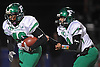 Farmingdale running back No. 40 Kevin Eversley, left, takes a handoff from quarterback No. 9 Anthony Burriesci during the Nassau County varsity football Conference I final against Oceanside at Hofstra University on Saturday, Nov. 21, 2015. Farmingdale won by a score of 34-23.<br /> <br /> James Escher