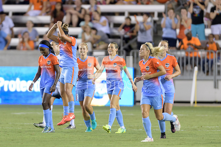 Houston, TX - Saturday July 16, 2016: Amber Brooks celebrates scoring, Kealia Ohai during a regular season National Women's Soccer League (NWSL) match between the Houston Dash and the Portland Thorns FC at BBVA Compass Stadium.