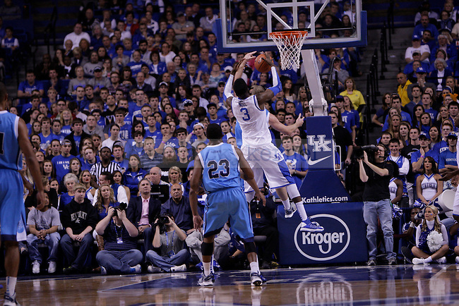 Freshman Center Nerlens Noel pulls down a rebound during the first half of the University of Kentucky vs. Northwood Basketball exhibition game at Rupp Arean in Lexington, Ky., on, {November} {1}, {2012}. Photo by Jared Glover | Staff