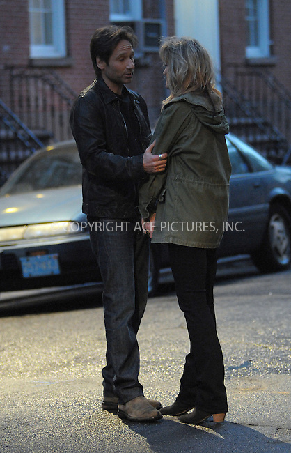 WWW.ACEPIXS.COM . . . . .  ....April 21 2012, New York City....Actors Natascha McElhone and David Duchovny film a scene for the TV show 'Calaforniacation' on April 21 2012 in New York City....Please byline: CURTIS MEANS - ACE PICTURES.... *** ***..Ace Pictures, Inc:  ..Philip Vaughan (212) 243-8787 or (646) 769 0430..e-mail: info@acepixs.com..web: http://www.acepixs.com