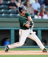 April 17, 2008: Infielder Ryan Curry (21) of the Greensboro Grasshoppers, Class A affiliate of the Florida Marlins, in a game against the Greenville Drive at Fluor Field at the West End in Greenville, S.C. Photo by:  Tom Priddy/Four Seam Images
