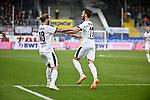 16.03.2019, BWT-Stadion am Hardtwald, Sandhausen, GER, 2. FBL, SV Sandhausen vs FC St. Pauli, <br /> <br /> DFL REGULATIONS PROHIBIT ANY USE OF PHOTOGRAPHS AS IMAGE SEQUENCES AND/OR QUASI-VIDEO.<br /> <br /> im Bild: Dennis Diekmeier (SV Sandhausen #18) jubelt mit Fabian Schleusner (#11, SV Sandhausen) ueber dessen Tor zum 3:0<br /> <br /> Foto &copy; nordphoto / Fabisch
