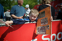 Philippe Gilbert (BEL/BMC) fan on top of the Mur de Huy<br /> <br /> La Flèche Wallonne 2014