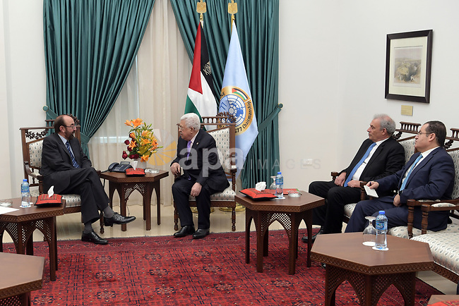 Palestinian President, Mahmoud Abbas meets with the Spanish Consul General, in the West Bank city of Ramallah, on December 8, 2019. Photo by Thaer Ganaim