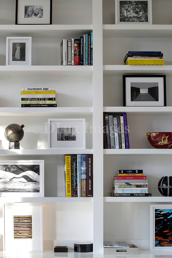 White wall bookcase