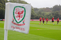 Gareth Bale, Ashley Williams, Joe Allen, James Collins and Hal Robson-Kanu during the Wales open Training session ahead of the opening FIFA World Cup 2018 Qualification match against Moldova at The Vale Resort, Cardiff, Wales on 31 August 2016. Photo by Mark  Hawkins / PRiME Media Images.