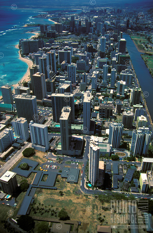 Aerial view of Waikiki, stretching between Ala Wai canal and the shoreline