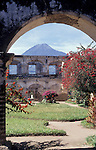 Aqua volcano framed by ruined building, Antigua, Guatemala, Central America,
