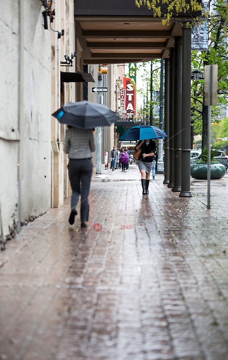 Business people walking with umbrellas on Congress Avenue sidewalk, central business district, on a rainy and wet stormy day in downtown Austin, Texas  - Stock Image.
