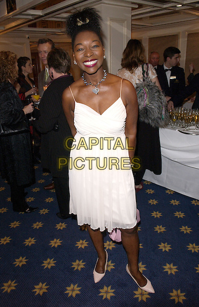 FLOELLA BENJAMIN.British Academy Children's Film & Television Awards in Association With The Lego Company, Hilton Hotel, London..November 28th, 2004.Baftas, full length, white chiffon dress, arms behind back,.www.capitalpictures.com.sales@capitalpictures.com.© Capital Pictures.