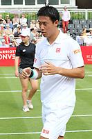 Kei Nishikori plays at the Aspall Tennis Classic at Hurlingham Club, London on 26 June 2019<br /> <br /> Photo by Keith Mayhew