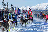 Andrew Nolan leaves the start line of the 2015 Junior Iditarod on the Denali Highway on Sunday March 1, 2015.<br /> <br /> <br /> <br /> (C) Jeff Schultz/SchultzPhoto.com - ALL RIGHTS RESERVED<br />  DUPLICATION  PROHIBITED  WITHOUT  PERMISSION