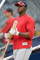 Los Angeles Angels' Gary Matthews Jr. (24) during batting practice at Comerica Park in Detroit, MI, Sunday, April 27, 2008.