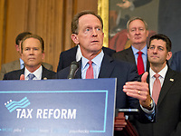 United States Senator Pat Toomey (Republican of Pennsylvania) makes remarks as US Senate and House Republicans announce their new tax plan endorsed by US President Donald J. Trump in the US Capitol in Washington, DC on Wednesday, September 27, 2017. Photo Credit: Ron Sachs/CNP/AdMedia