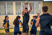 2018 Hamilton Sevens teams visit to Fairfield Intermediate School in Hamilton, New Zealand on Wednesday, 31 January 2018. Photo: Dave Lintott / lintottphoto.co.nz