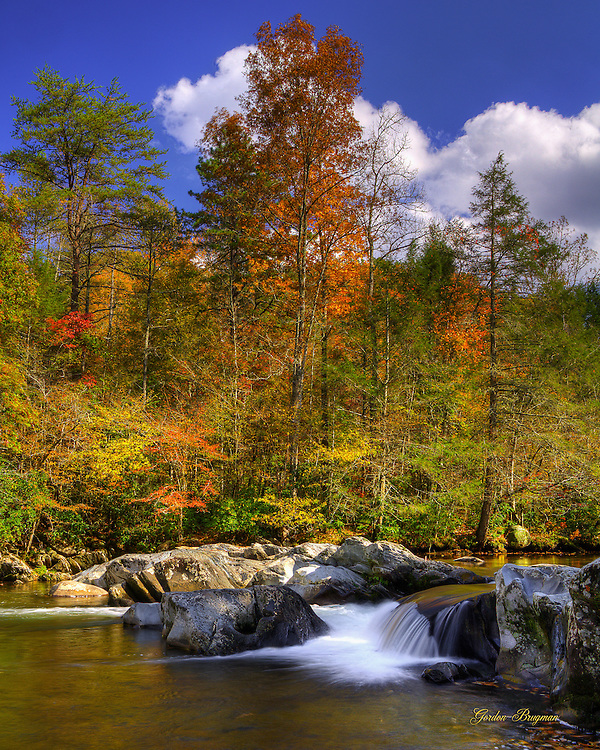 The splendor of Fall along the Greenbrier River in the Great Smoky Mountains National Park. 3-exposure HDR