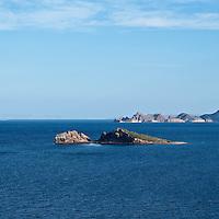 Small desert island in Loreto Bay, Baja California highway 1, South of Loreto