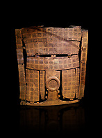 Phrygian inlayed Wooden Screen from the Gordion Great Tumulus. Phrygian Collection, 8th-7th century BC - Museum of Anatolian Civilisations Ankara. Turkey. Against a black background